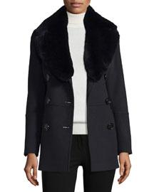 Marfield Wool-Blend Coat w/Detachable Fur Collar, Black