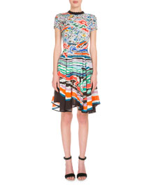 Short-Sleeve Wave-Collar Dress, Multi