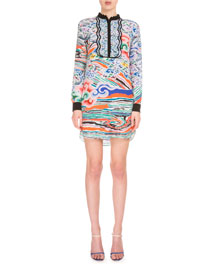 Long-Sleeve Multi-Print Silk Midi Dress