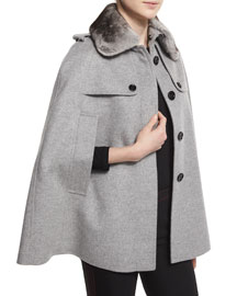 Wolseley Cape Jacket Trench w/Detachable Fur Collar, Pale Gray
