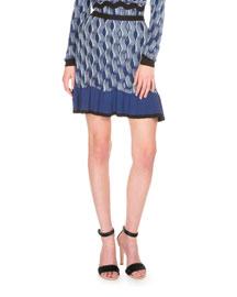 Wave-Knit Ruffle-Hem Mini Skirt, Navy
