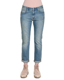 Star-Studded Denim Boyfriend Jeans