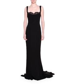 Lace Peek-A-Boo Tank Gown, Black