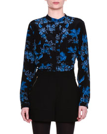 Long-Sleeve Floral-Silk Blouse, Black/Blue