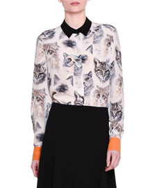 Long-Sleeve Cat-Print Silk Blouse, White/Black