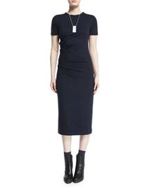 Short-Sleeve Stretch-Wool Midi Dress, Navy