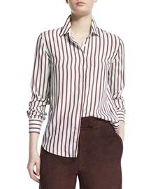 Long-Sleeve Striped Silk Blouse, Night