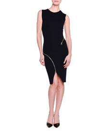 Strong Lines Zip-Detail Sheath Dress, Ink