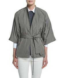 3/4-Sleeve Taffeta Cape Jacket