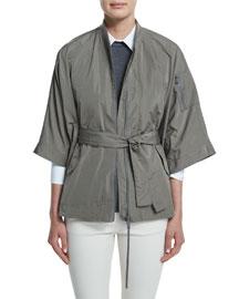 3/4-Sleeve Taffeta Cape Jacket