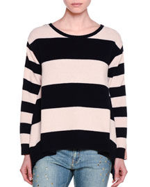 Long-Sleeve Wide-Striped Combo Sweater, Ink/Powder