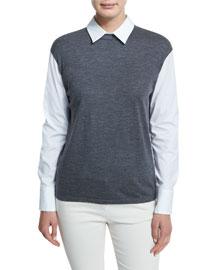 Poplin Blouse w/Wool Jersey Knit, Charcoal
