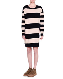 Long-Sleeve Wide-Striped Combo Shift Dress, Ink/Powder