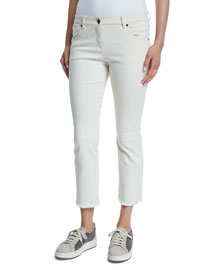 Cropped Frayed Denim Jeans, Stone