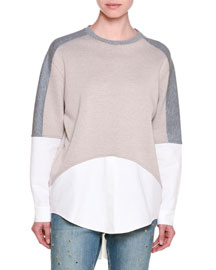 Scuba-Knit Top w/Pique Trim, Camel