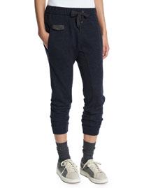 Drawstring-Waist Cashmere Spa Jogger Pants, Navy
