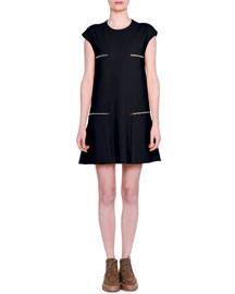 Short-Sleeve Cady Dress w/Zip Pockets, Navy