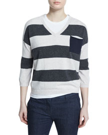 Striped V-Neck Patch Pocket Sweater, Volcano