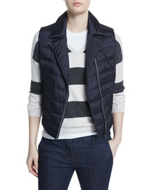 Quilted Silk Vest w/Monili Trim, Navy