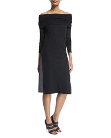 Off-the-Shoulder Wool Jersey Monili Dress, Onyx