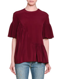 Short-Sleeve Ruffled Silk Top, Raspberry
