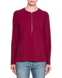Long-Sleeve Half-Zip Cady Top, Raspberry