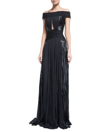 Off-the-Shoulder Pleated Metallic Gown, Black