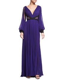 Long-Sleeve Pleated Silk Gown, Mulberry