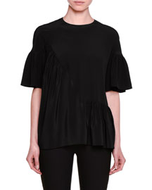 Short-Sleeve Ruffled Silk Top, Black