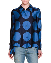 Long-Sleeve Polka Dot Swing Blouse, Black/Blue