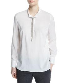 Long-Sleeve Henley w/Monili Neck Tie, White