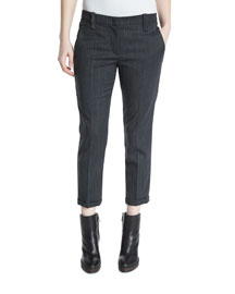 Monili-Trimmed Grainy Wool Pants, Anthracite