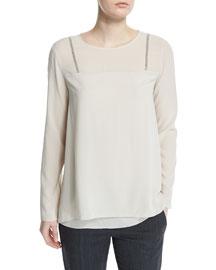 Long-Sleeve Monili-Trimmed Top, White
