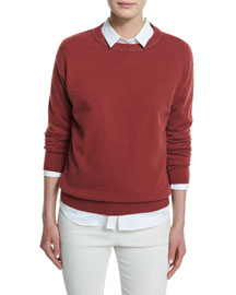 2-Ply Cashmere Monili Collar Sweater, Wine