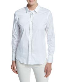 Long-Sleeve Monili-Placket Blouse, White