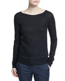 Raglan-Sleeve Wool Monili Chain Sweater, Onyx
