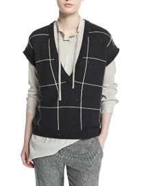 Cap-Sleeve Embellished Windowpane Pullover, Black