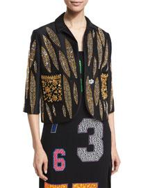 3/4-Sleeve Leaf-Embellished Silk Jacket, Black
