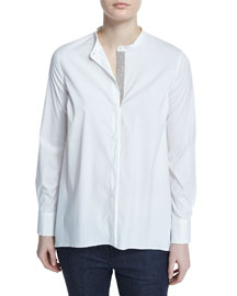 Long-Sleeve Monili Placket Top, White