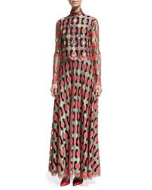 Long-Sleeve Embellished Vintage Galanos Dress, Red Pattern