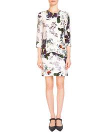 Emma Bold Floral 3/4-Sleeve Shift Dress, White/Multi