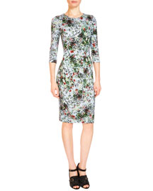 Allegra 3/4-Sleeve Floral-Print Dress, Light Blue/Green