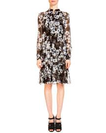 Devika Long-Sleeve Floral-Print Shirtdress, Black/White
