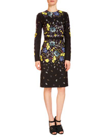 Evita Floral-Print Long-Sleeve Dress, Black/Multi