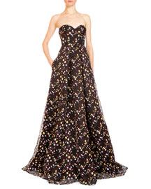 Taryn Floral Strapless Corset Gown, Black/Multi
