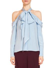 Aila Silk Cold-Shoulder Top, Light Blue