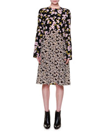 Long-Sleeve Ruffle-Neck Floral Silk Dress, Black