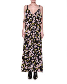 Sleeveless Floral-Print Silk Crepe Maxi Dress, Black