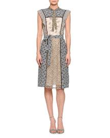 Multi-Panel Floral-Print Silk Dress