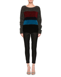 Colorblock Mohair-Blend Pullover Sweater